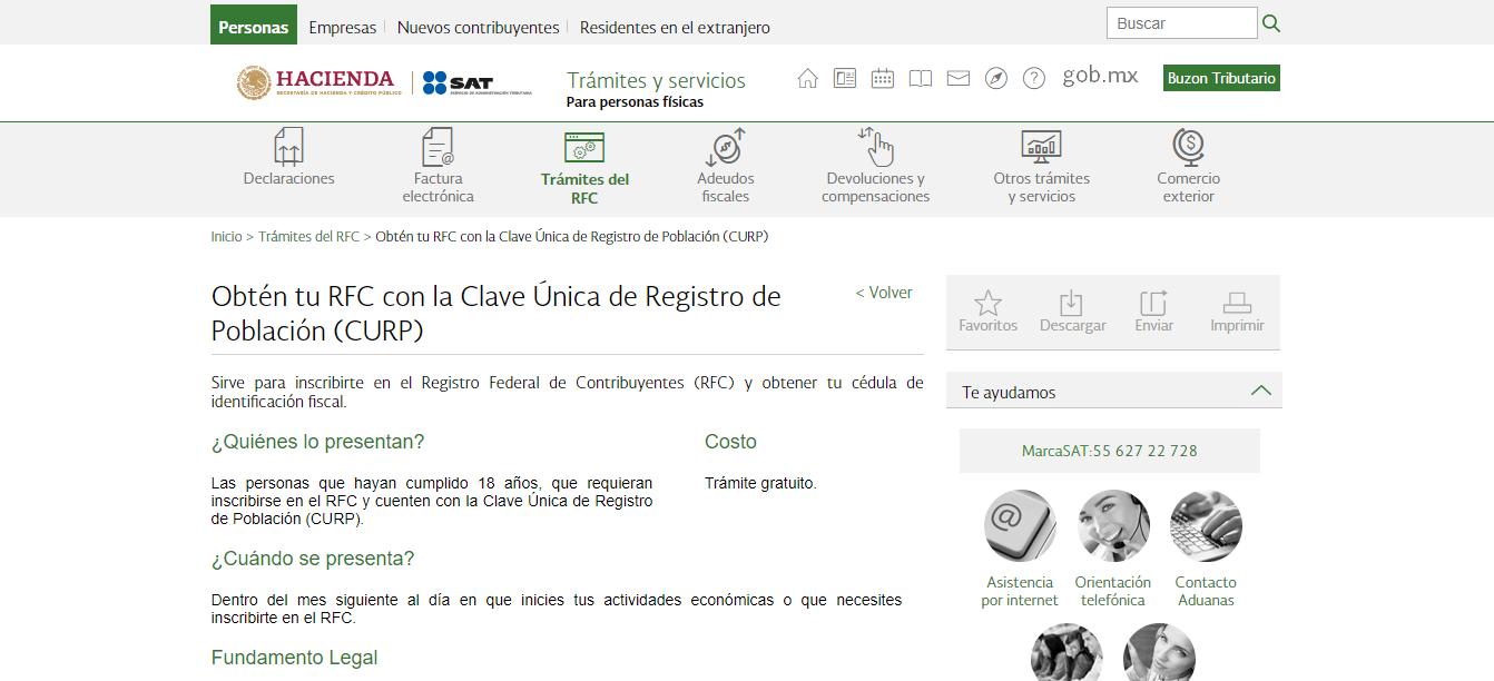 Obtén tu RFC con la Clave Única de Registro de Población (CURP)